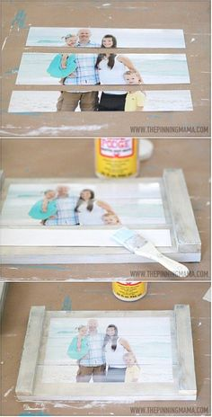 Quick & Easy DIY Planked Picture Frame  WHAT YOU NEED FOR THIS PROJECT:    1- 8×10 Photo – I ordered from Shutterfly  3 – 1×4″ boards cut to 14″ in length  2 – 1/2 x1″ boards cut to the total width of your 3 boards (approx 10.5″) in length  Paint or stain  Liquid nails  Matte Modge Podge  Scissors