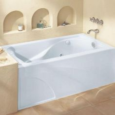 american standard cadet 5 ft x 32 in left drain everclean whirlpool tub with integral apron in white - American Standard Tubs