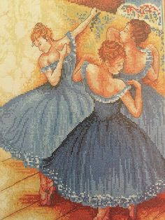 Blue Dancers cross stitch kit by Fleur de Lis, 16 count advanced level by KindredClassics on Etsy European Languages, Cross Stitch Rose, Pastel Drawing, Stitch Kit, French Artists, Kitsch, Dancers, Needlepoint, Needlework