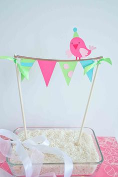 Colorful Birthday Cake Banner Cake Topper with Cute Little Pink Bird.
