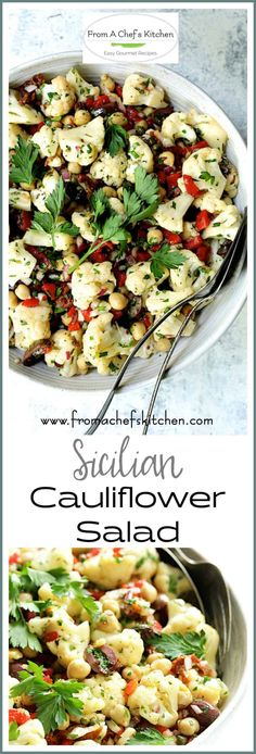 """Sicilian Cauliflower Salad, also known as """"reinforcement salad"""" is super easy and made with simple pantry ingredients you may already have on hand. Potluck Recipes, Spring Recipes, Side Dish Recipes, Gourmet Recipes, New Recipes, Cooking Recipes, Chili Recipes, Recipies, Cauliflower Salad"""