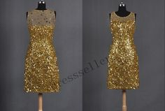 Gold Sequin Short Crystals Prom Dress Sexy Stunning Bridesmaid Dress Formal Party Dresses Wedding Party Dress Bridal Gown Evening Dress on Etsy, $121.00