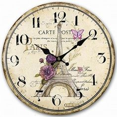 Carpenter 12 inch Paris Eiffel Tower wall clock Vintage France Paris Non ticking clock (Paris Eiffel Tower)  Consider using purple wall art if you want to make any room in your home look unique, trendy and modern.  In fact you can get all kinds of purple home décor ideas by finding a few pieces of charming and cool purple decorative accents.  Combine these with purple metal wall art to create a fun purple home decoration theme.