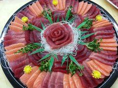 Ahi and salmon sashimi