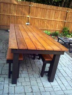 Modified rustic table and benches Do It Yourself Home Projects from Ana White Outdoor Tables, Rustic Outdoor, Rustic Table, Diy Table, Outdoor Dining, Outdoor Decor, Farm Tables, Picnic Tables, Outdoor Fire