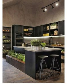 Browse photos of Small kitchen designs. Discover inspiration for your Small kitchen remodel or upgrade with ideas for organization, layout and decor. Home Decor Kitchen, New Kitchen, Home Kitchens, Kitchen Dining, Earthy Kitchen, Kitchen Black, Modern Kitchens, Kitchen Utensils, Modern Kitchen Cabinets