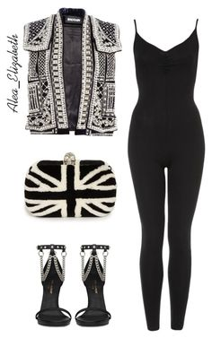 """Rocker Tour."" by queenleestyles ❤ liked on Polyvore featuring Balmain, Yves Saint Laurent and Alexander McQueen"