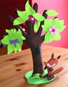 Renard et arbre en feutrine / Felt fox and tree