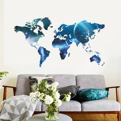 World map wall decal for home or office chalkboard white chalk retailsource blue world map wall decal reviews wayfair gumiabroncs Images