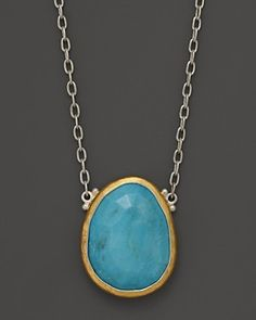 Gurhan Silver and 24K Gold Turquoise Pendant Elements Necklace, 18"