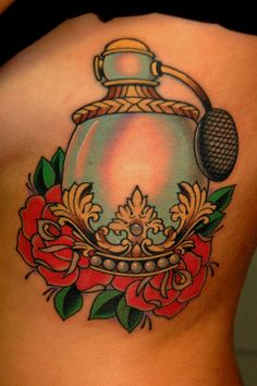 traditional perfume bottle roses tattoo | Union Electric Tattoo