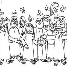 Pentecost The Holy Spirit Upon The Apostles In Pentecost Coloring