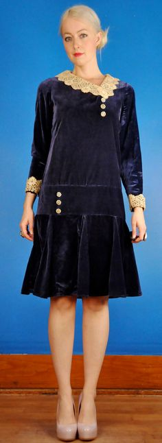 1920s velvet dress with lace.
