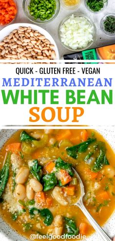 Try this vegan Mediterranean White Bean Soup for lunch or dinner. It's a quick gluten free soup recTry this vegan Mediterranean White Bean Soup for lunch or dinner. It's a quick gluten free soup recipe that's filled with vegetables and plant-based protein Diet Soup Recipes, Whole Food Recipes, Healthy Recipes, Protein Recipes, Healthy Protein, Keto Recipes, Healthy Dinners, Quick Recipes, High Protein