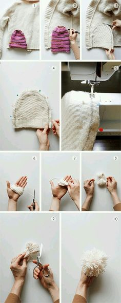 Baby Knitting Patterns How to Make a Hat from an Old Sweater. Fabric Crafts, Sewing Crafts, Sewing Projects, Diy Projects, Diy Clothing, Sewing Clothes, Recycled Clothing, Sewing Hacks, Sewing Tutorials