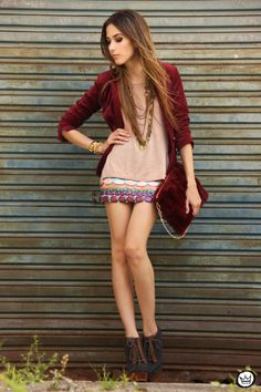 burgundy fluffy clutch and burgundy blazer