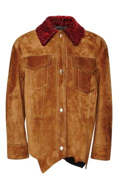 Suede Double Breasted Jacket With Raw Hide Hem And Astrakhan Collar by Alexander Wang - Moda Operandi