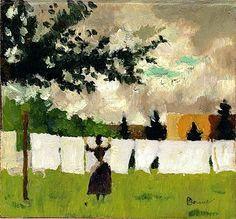 Pierre Bonnard, Femme Etendant du Linge, (oil on paper on panel) Pierre Bonnard, Edouard Vuillard, Paul Gauguin, Garden Painting, Painting & Drawing, Guache, Renoir, Paintings I Love, Line Art