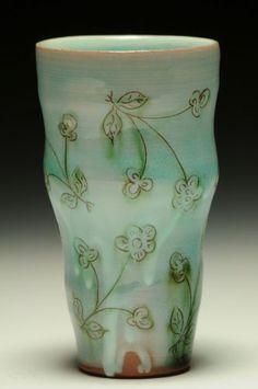 Catherine Boswell, Earthenware, thrown, slip, sgraffito, multiple glazes