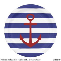 Nautical Red Anchor on Blue and White Stripes