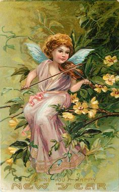 Vintage New Years Greetings...antique New Year postcard with an angel playing a violin