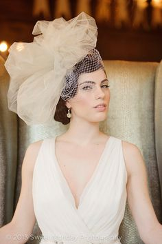 Downton Abbey inspired Tulle & Birdcage Statement Wedding Bridal Headpiece - Roaring 20s head hair piece
