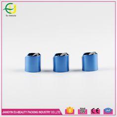 24/410 blue plastic disc top shampoo cap with aluminum collar