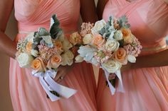Coral and green wedding attendant bouquets