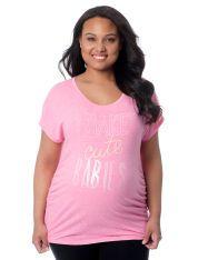 Motherhood Maternity Plus Size Short Sleeve Scoop Neck Screen Print Maternity T Shirt