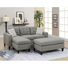 Ebern Designs Cray Reversible Sectional with Ottoman Upholstery Color: Gray Living Room Sets, Living Room Furniture, Living Room Designs, Living Room Decor, Living Spaces, Sectional Ottoman, Modern Sectional, Fabric Sectional, Sofa Set