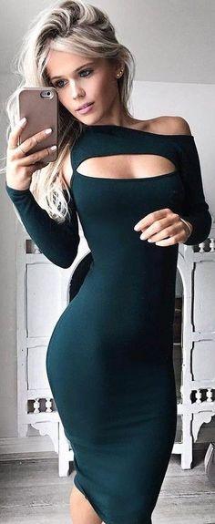 #summer #hildeosland #outfits | Dark Green Midi Dress