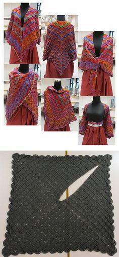 Inspiration :: Lacy Wrap-Around Shawl, by Goh Hui Lian (pattern not free). #crochet