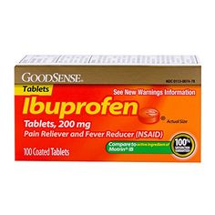 GoodSense Ibuprofen Pain Reliever/Fever Reducer Orange Coated Tablets, 200 mg, 100 Count >>> Want additional info? Click on the image.
