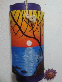 Atardecer pintado en teja con pintura de acrílico