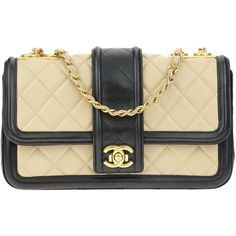 Pre-owned Chanel Black Beige Lambskin Elegant CC Flap (188,990 PHP) ❤ liked on Polyvore featuring bags, handbags, lambskin leather handbags, beige purse, pre owned handbags, kiss-lock handbags and preowned handbags