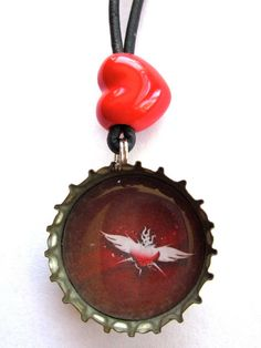 recycled bottle cap necklace or key chain