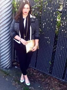 Chanel inspired jacket, mint flats, gold envelope clutch