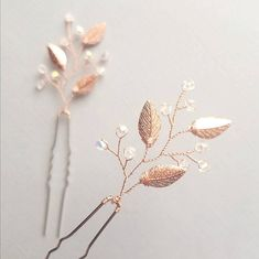 Rose Gold Hair Pins -Also Available in Gold and Silver Perfect for brides and bridesmaids! Please note that all my creations are handmade and there will be slight variations from each piece. I do however try to do my best to keep the designs close to the original photographs. Feel
