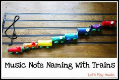 Music Note Naming With Trains - a fun way to teach kids where each note belongs on the stave.