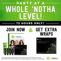 Our CEO has extended this amazing offer for new distributors that sign up anytime before August 1st 2015 at 7am!!  What a great way to get started with your business!!! You can sell all 8 wraps and start out making a profit!! Joking me on this journey of you strive to live healthier and helps others as well!!!  Snag this deal while it lasts!! Don't miss out!!  You too can live debt free!!
