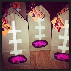 Let& go Hogs! Super Bowl Sunday, Goodie Bags, Gift Wrapping, Football, Crafts, Goodies, Gift Wrapping Paper, Soccer, Sweet Like Candy