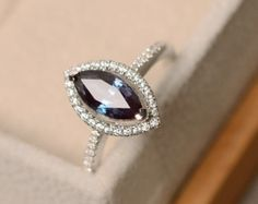 Alexandrite ring oval cut ring sterling silver
