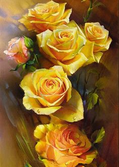 Yellow Roses Greeting Card featuring the painting Yellow Roses by Roman Romanov