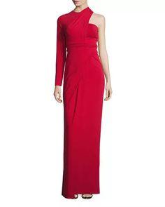 Asymmetric One-Sleeve Bustier Gown, Vermillion