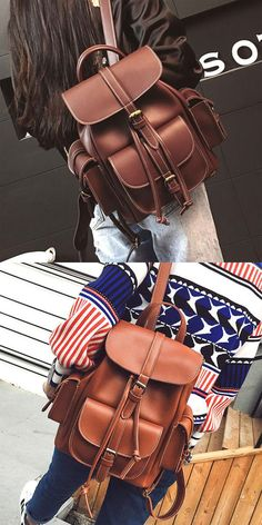 Leisure Brown Three Pockets PU Smooth Large School Backpacks for big sale! Lace Backpack, Retro Backpack, Striped Backpack, Floral Backpack, Backpacks For Teens School, Backpack For Teens, School Bags, College Backpacks, Animal Backpacks
