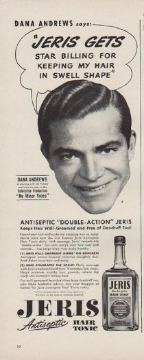 """Description: 1949 JERIS HAIR TONIC vintage print advertisement """"Dana Andrews says:"""" """"Jeris Gets Star Billing For Keeping My Hair In Swell Shape"""" Size: The dimensions of the half-page advertisement are approximately 5.5 inches x 14 inches (14cm x 36cm). Condition: This original vintage advertisement is in Very Good Condition unless otherwise noted ()."""