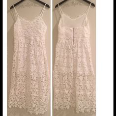🆑 White Lace Midi Dress {Host Pick} White lace midi dress. Fully lined to the knee. Please feel free to ask any questions. GlamVault Dresses Midi