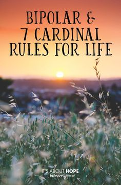 """Cardinal Rules for Stability"""" Brad Hoefs """"There seems to be some wisdom in the 7 Cardinal Rules for Life for those of us who are learning to live well in spite of having bipolar disorder. What Is Mental Health, Mental Health Issues, Mental Health Awareness, Bipolar Awareness, Bipolar Depression Disorder, Living With Bipolar Disorder, Depression Help, Bipolar Disorder Quotes, Mental Health"""