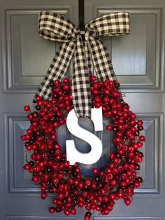 Christmas Red Berry Black & White Burlap Ribbon Monogram Letter S Grapevine Wreath Door Decor Holidays