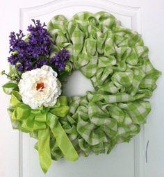 Green Plaid Wreath, Spring Wreath, Green & White Burlap Wreath, Wreath.via Etsy.